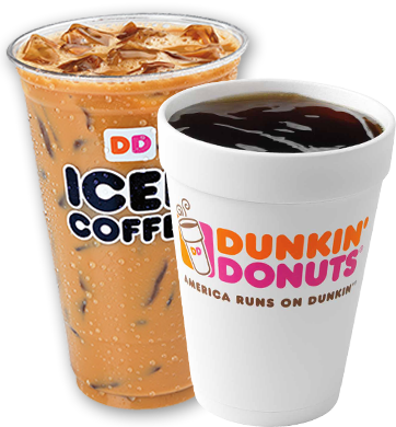 Hot or cold coffee Dunkin Donuts